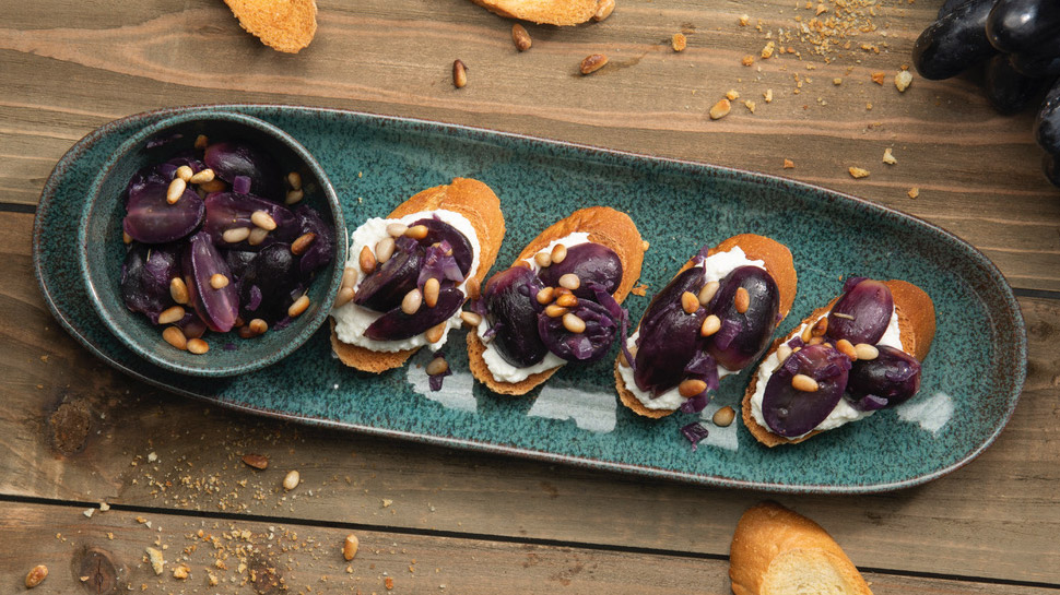 Pretty Lady Black Grape Bruschetta