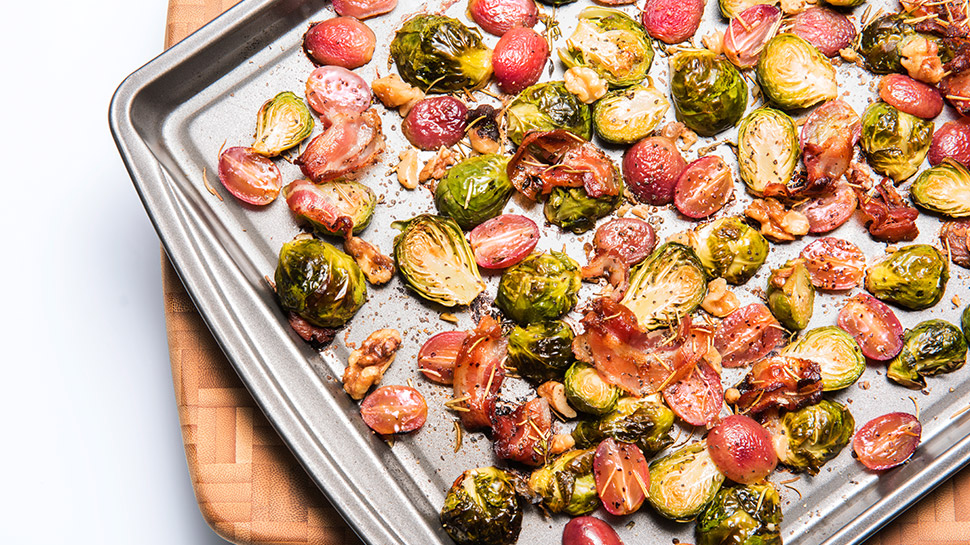 Roasted Pretty Lady Grapes with Brussels Sprouts